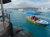 Panga approaching dock at Puerto Ayora, Galapagos Islands