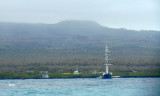 Masted ship in the bay outside Peurto Ayora, Santa Cruz Island, Galapagos