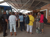 After exiting the Baltra airport in Galapagos - waiting for our bus