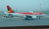 Avianca Ecuador Airbus A319-100 at Quito airport as we await departure