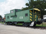 Old MKT railroad caboose beside the Katy trail