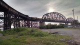 Freight train crosses the Mississippi, St. Louis