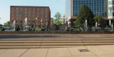 Statues and fountains in Aloe Plaza in front of the St. Louis Union Station