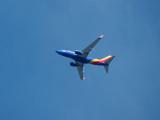 Southwest Airlines jet over Forest Park, St. Louis