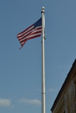 Flag over the Battle of Island Mound Historic Site