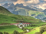 Local Matterhorn-Gotthard-Bahn train on Richleren bridge