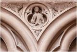 Le Christ et deux anges, phylactère de la Trinité.