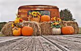 Fall/Thanksgiving display on modifided Jeepster, Glen Rose, TX