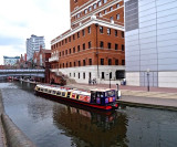 Canal boat and the city