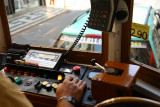 Tram driver at work