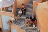 In shade, Oia