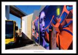 Street art, bridge and bus, Lisboa, Portugal 2018