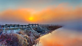 Foggy Sunrise At Roses Bridge DSCN05298-300