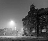 The Old Post Office Building On A Foggy Night P1190504-6BW