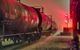 Tanker Cars On A Foggy Night P1050021-7