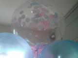 Close up of 20 inch deco bubble with paper confetti