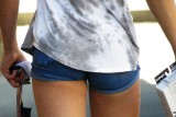 A Butt in short shorts.