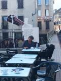 Our favorite pilgrim having her pause café