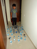 April fool!  Rahil booby-trapped the hallway with water