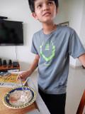 April fool!  Food coloring below his breakfast oatmeal