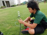 Trying out a water rocket