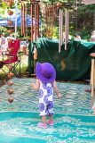 Toddler in purple hat at Bellingen