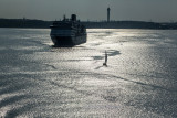 Cruise ship and yacht leaving Stockholm