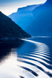 Ripples from wake of Queen Victoria in Norwegian fjords