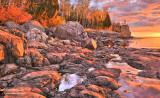 * 30.2 - Split Rock Lighthouse:  Sunrise Color On The Shore, Oct. 1st