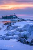 135.1 - Grand Marais Sunrise:  Harbor Light With Winter Ice