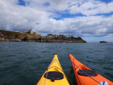 July 17 Kayaks nearing Slains castle (said to be where Bram Stoker started writing Dracula)