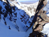 Feb 18 An Teallach - Looking down my ascent route- Hayfork gully left fork