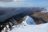 March 18 Slioch- Windy day but views west down Loch Maree to the west coast