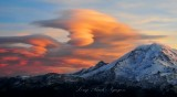 orange sky with dangerous signs, Double Standing Lenticular Cloud Formation over Mt Rainier National Park 250