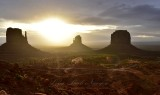 Sunrise at Monument Valley with West and East Mittens and Merrick Butte Arizona 011