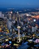 Space Needle Seattle Skyline Great Wheel Stadiums Mt Rainer Washington 250