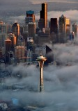 Brass Color Skyline Space Needle Seattle Washington