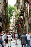 Exploring narrow street of Barcelona 416
