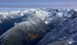Fall colors and fresh snow Cascade Mountains Washington 855