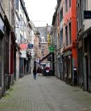 Walking down narrow street in Namur, Belgium 136
