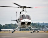 Coming in for perfect landing in Bell 407 at Clay Lacy Aviation Seattle Washigton 028