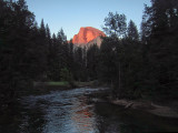 Half Dome as the sun gets lower and wind bends the waters. 7:55 PM  #4329h