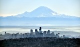 Seattle Skyline and Space Needle and Mount Rainier in January 2019 836