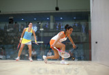 Dipika Pallikal (India) v Jenny Duncalf (England) blue/yellow