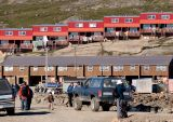 Red row of houses in Iqaluit