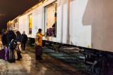 Unloading baggage 413 in Cochrane.