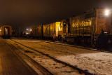 2012 December 3rd Cochrane Polar Bear Express, passenger cars at right, flatcars and boxcars at left.