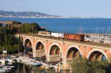 A short train and the BB22309 on the La Rague bridge, near Cannes.