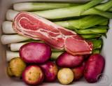 Leek potato  & bacon soup ingredients.
