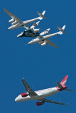 Virgin Galactic SpaceShipTwo (N339SS) and the White Knight Two (N348MS) with Virgin America Airbus A320-214 N635VA